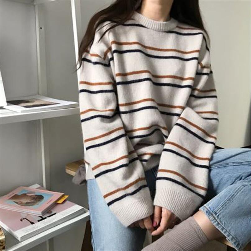 Harajuku Strickpullis Frauen gestreifter Pullover losen Langarm Aufmaß Knittwear Strickjacke Art und Weise beiläufige Pullover Tops