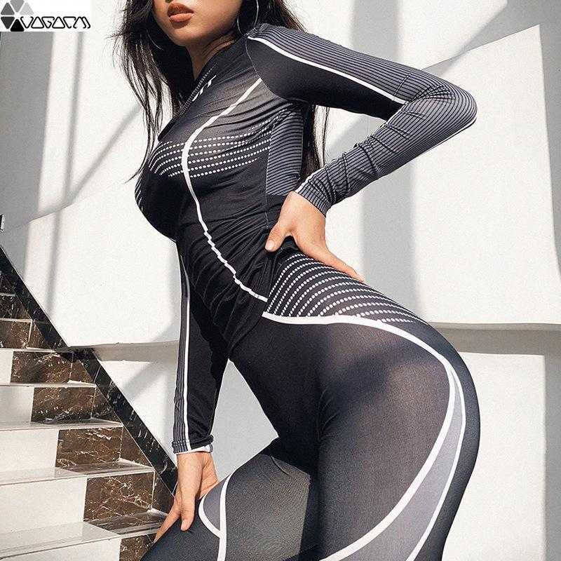 Femmes Sport Automne et Hiver Leggings Fitness taille haute à manches longues One Piece Yoga Noir New Sweatpants Costume d'entraînement