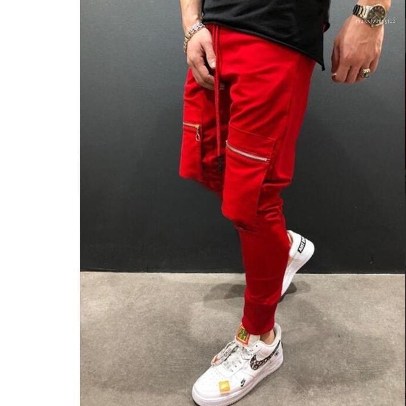 HOMBRES Multi-bolsillo cremallera Sweet-up Hip-Hop Ejercicio; Hombres Business Casual Algodón Slim Speaut Spring Pants1