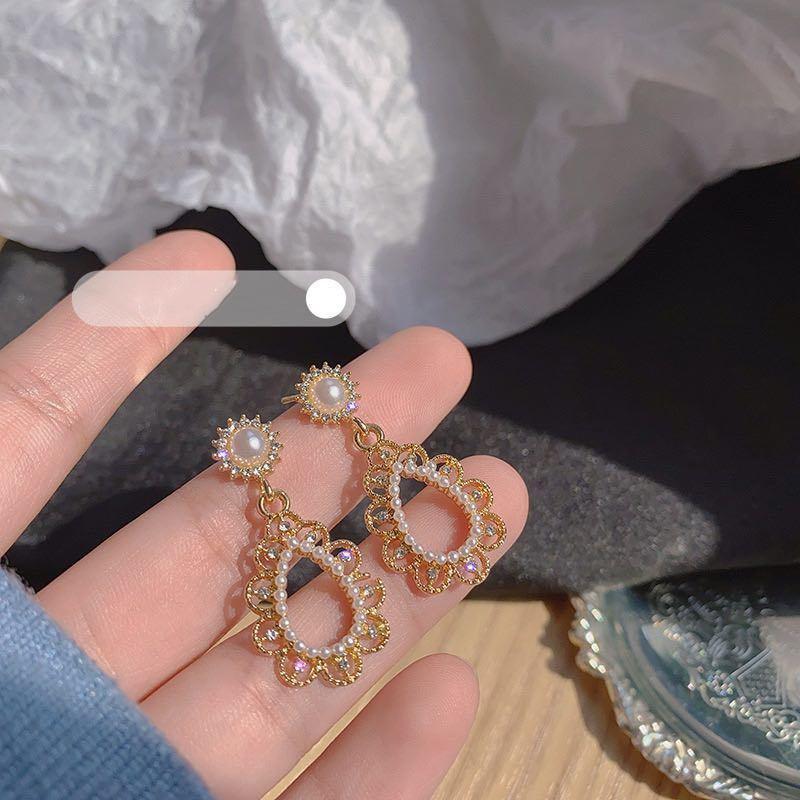 Französisch Stil Retro Barock Perle Ohrringe Hohe Qualität Neue Mode Sonnenblume Strass Ohrring Baumeln Diamant Ohrring Studs Für Frauen