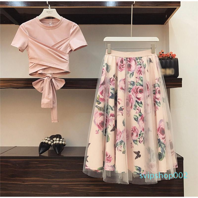 Floral Print Women T Shirt Mesh Skirt Suits Bowknot Vintage Two Piece Sets Elegant Woman Skirt 2019 Summer Girl Tees Tops Female