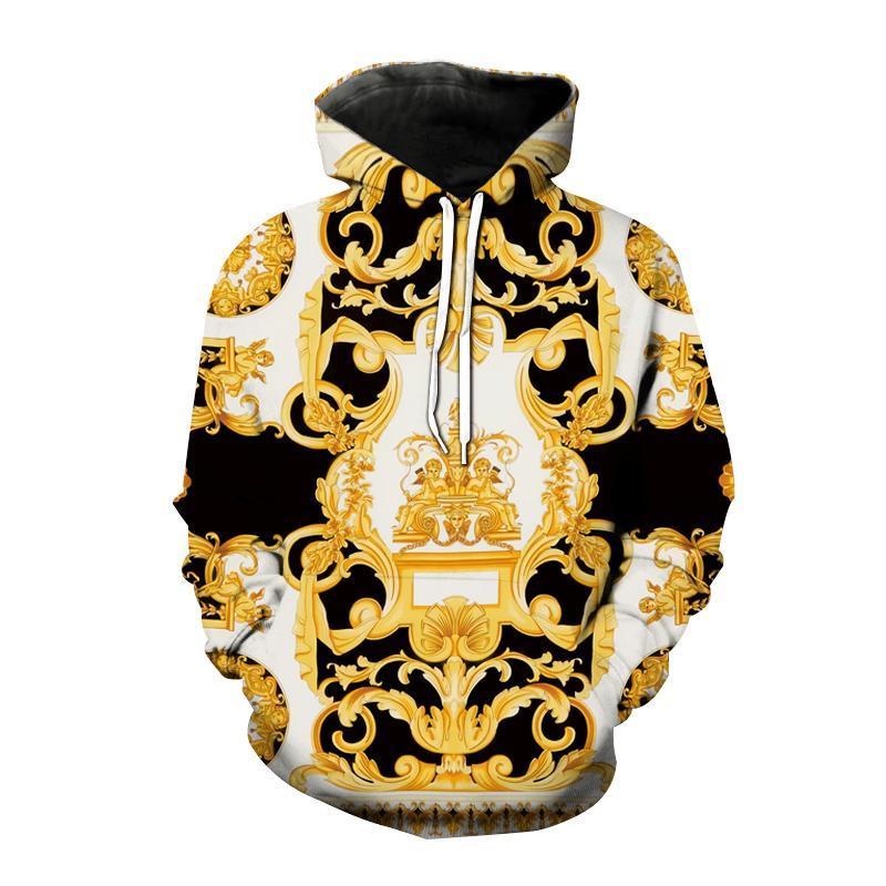 가을 겨울 패션 후드 스타일 3D 인쇄 스웨터 남성 여성 황금 대형 까마귀 힙합 풀오버 유니섹스 코트