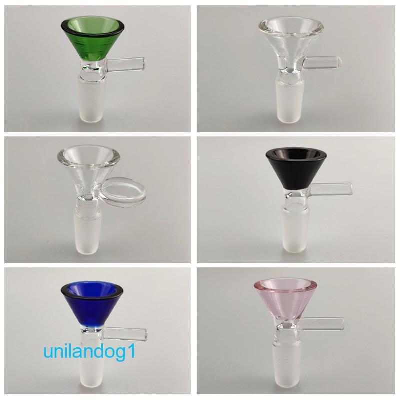 Embudo de 14 mm 18 mm cuencos de cristal para Bong masculino conjunta de fumadores bol de vidrio piezas para tubos de cristal Bongs plataformas petrolíferas de agua para el envío libre