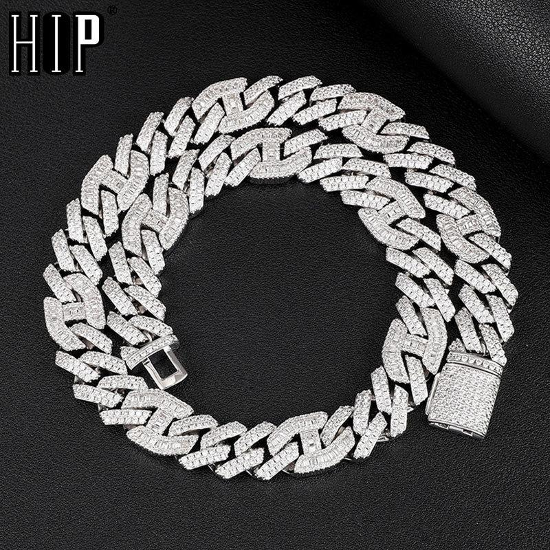 Hip Hop 14MM 2 Row Heavy Prong Baguette Curb Chain Iced Out Box Buckle Copper AAA+ Cubic Zirconia Chain For Men JewelryQ0115