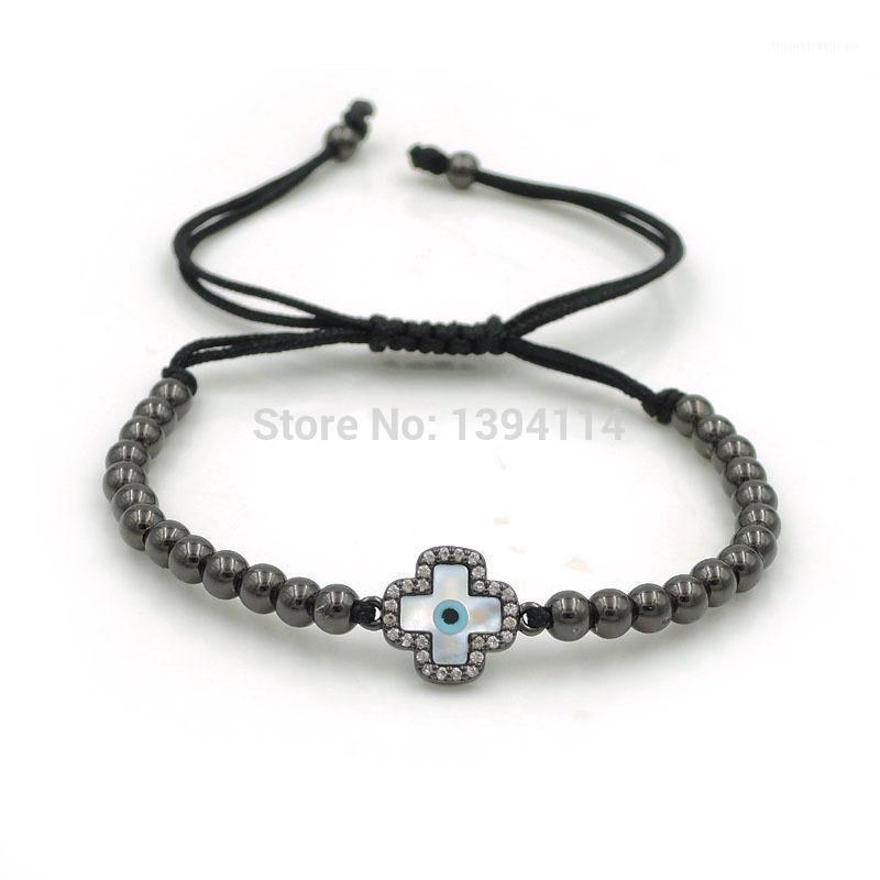 14*11*2mm Micro Pave CZ Hamas Shell Eye Square Cross Charm & 4mm Round Beads Braided Macrame Bracelet Jewelry1
