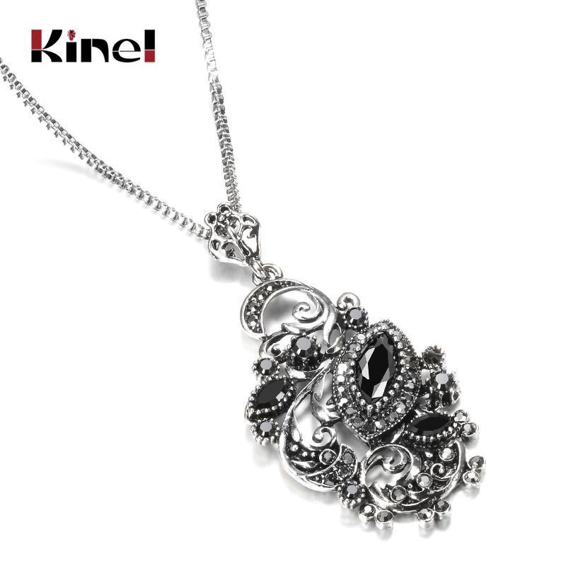 Kinel Charm Negro Stone Crystal Flower Collar para Mujeres Tibetan Resina Plata Collar Colgante Largo Joyería Vintage al Por Mayor