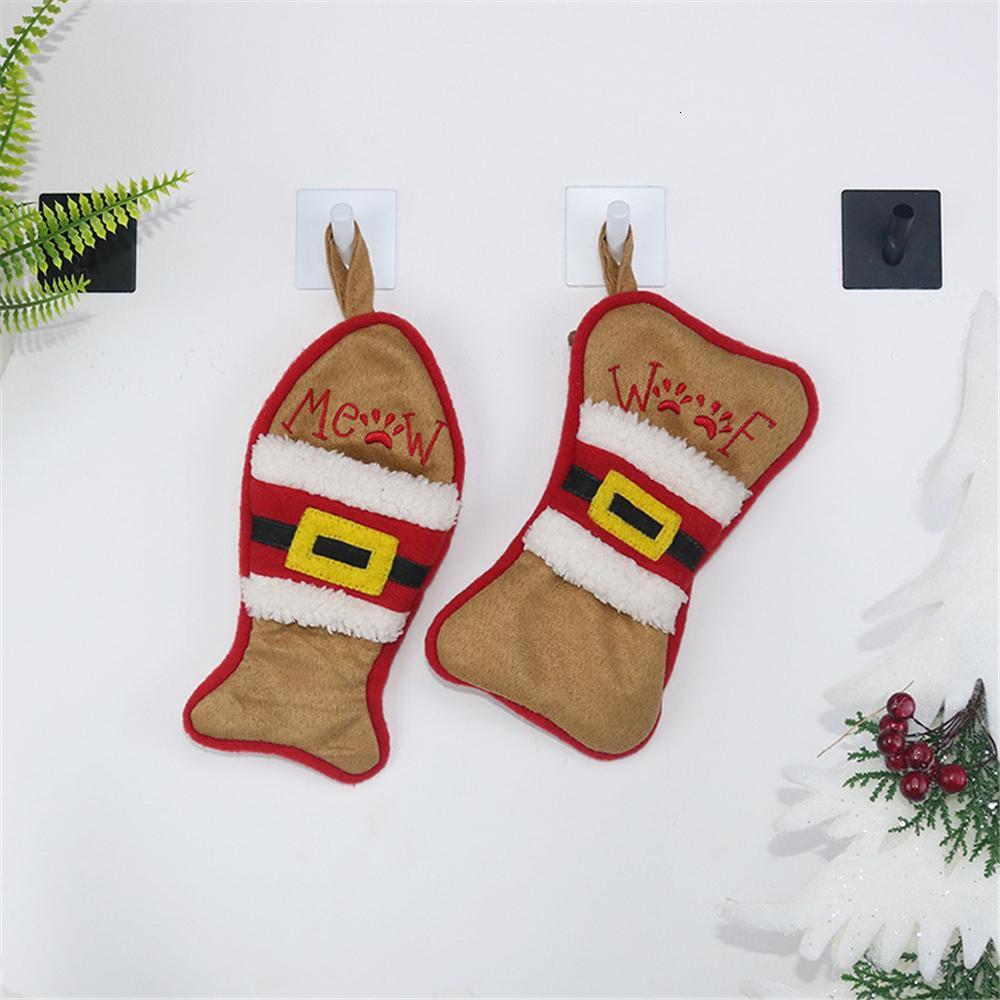 Süsleme Şeker Çanta Festivali Malzemeleri Asma 2019 Çorap Noel Hediyesi Balık Kemik Şekli Yılbaşı Noel Ağacı