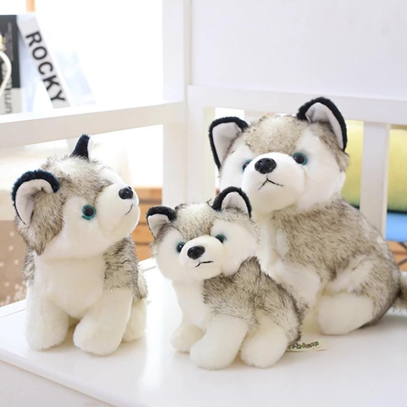 Gerçekçi Husky Köpek Dolması Oyuncaklar Peluş Hayvanlar Çocuk Oyuncakları Çocuk Yumuşak Kawaii Kurt Pet Bebek Sevimli Çocuk Oyuncakları Kız Erkek Çocuklar için