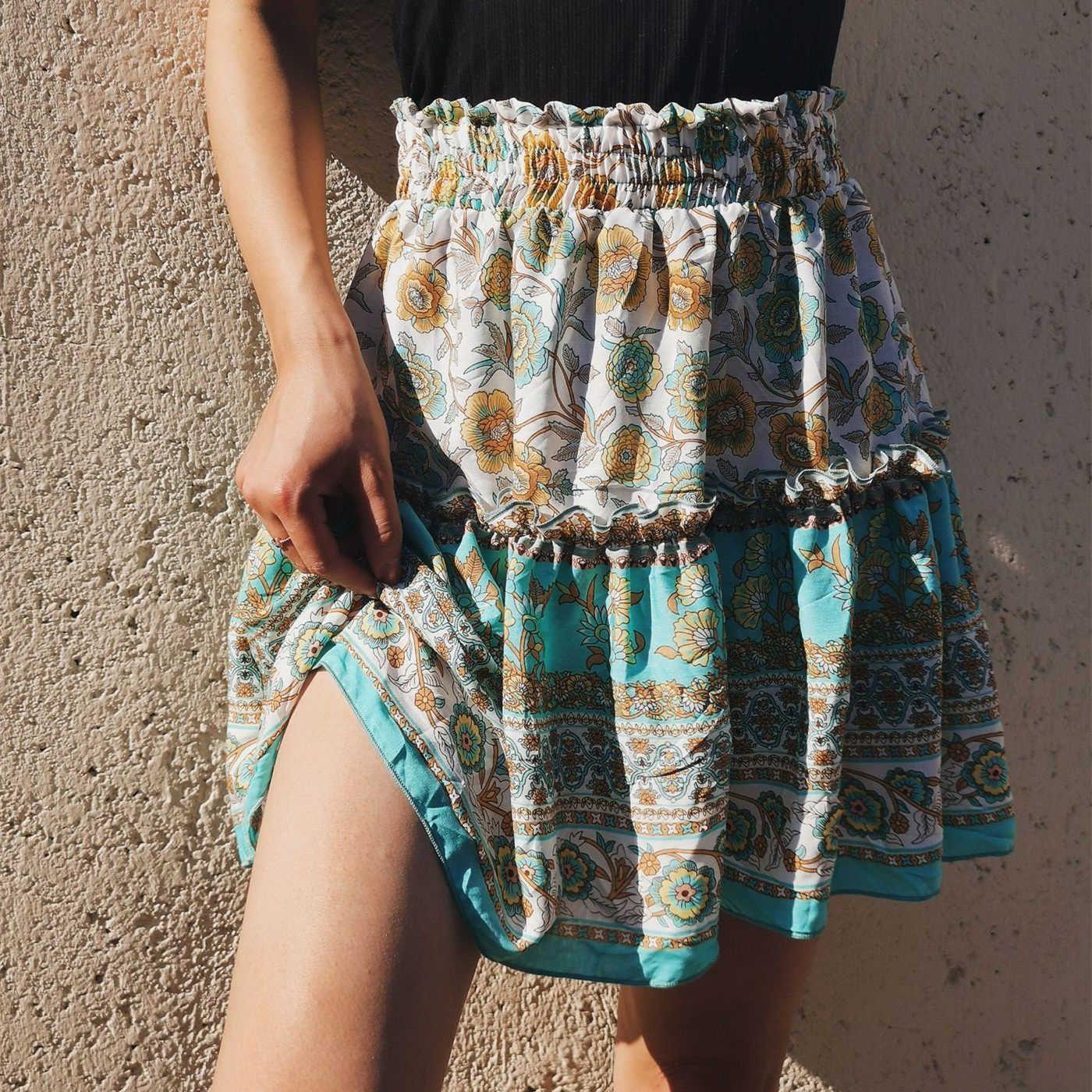 Mousseline d'été mini coréen style style bohème Simple solide élégant Faldas Mujer Moda Jupes courtes Femmes