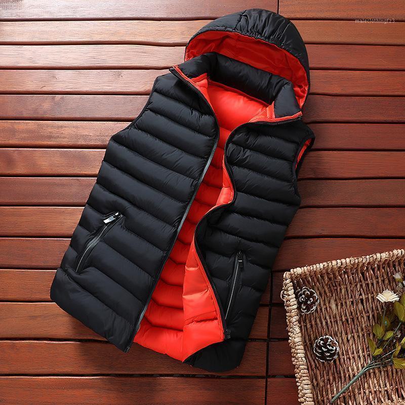 Zity Hombre chaqueta sin mangas chaleco invierno abrigos ocasionales de invierno sombrero masculino desmontable espesante cálido chaleco cremallera Outwear1