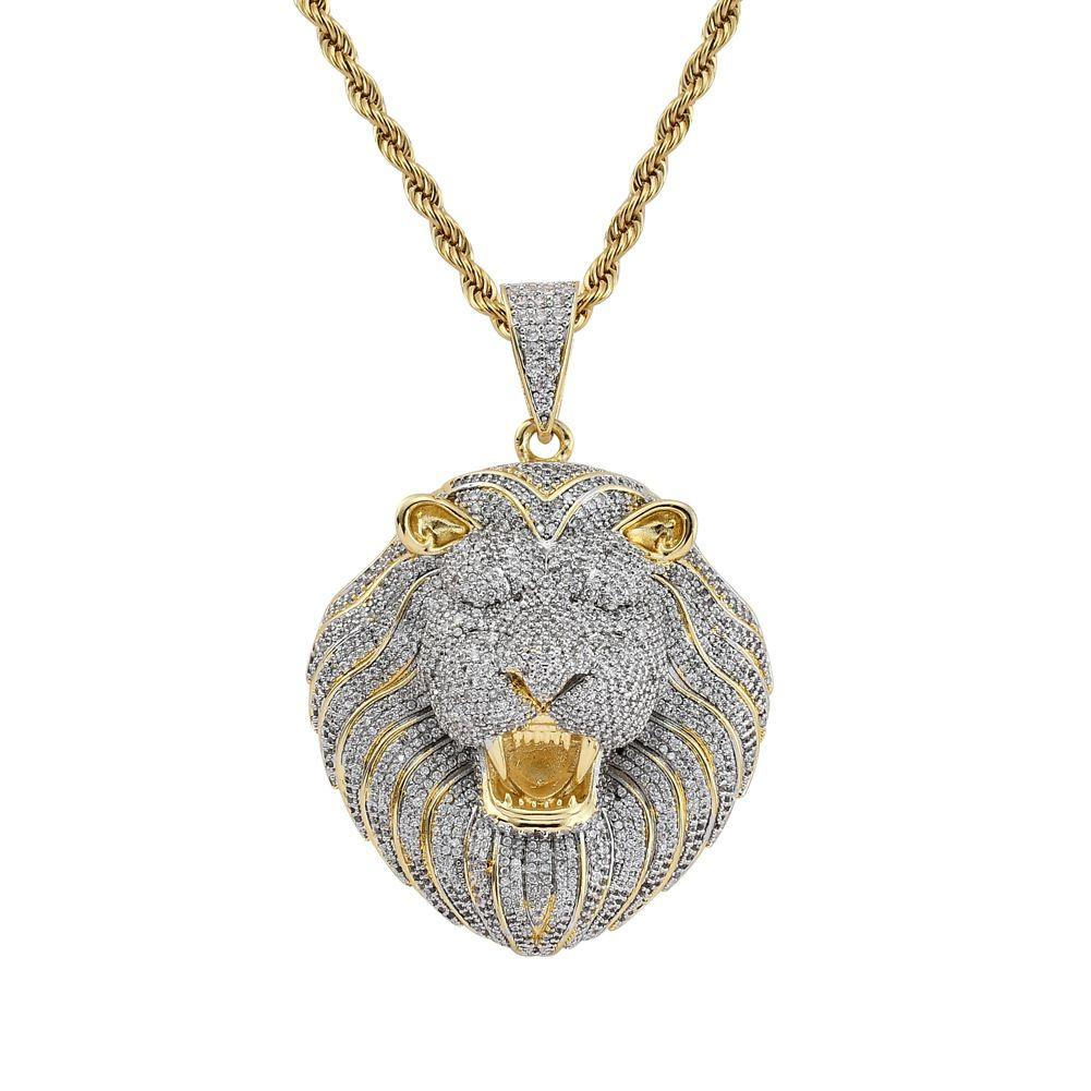 Hip-Hop-Löwe-Anhänger CZ Stein Bling gefrieren heraus Halskette Kupfer Zircon Halskette Rock and Roll Zubehör