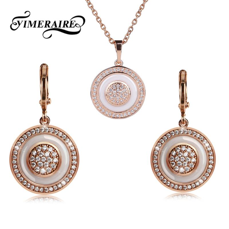 585 Rose ouro branco de cerâmica Conjunto de Jóias redonda para mulheres elegantes de cristal Brinco Pendente Círculo Rhinestone Moda colar de pingente
