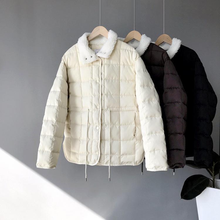 Yeni Casual Lambswool Toplama Yaka Kısa Kış Aşağı Ceket Kadın Coats İpli Sıcak Kalınlaşmak Aşağı Parka CRRIFLZ