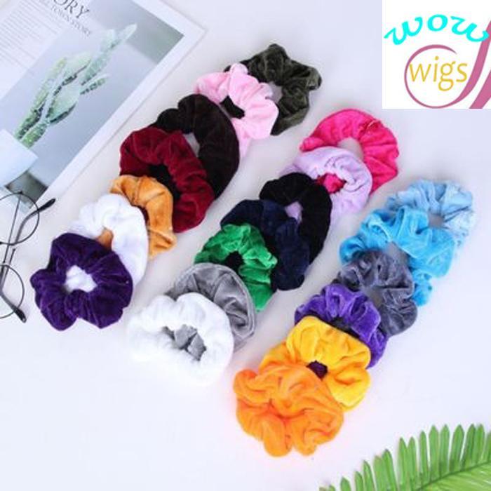 20 Farben CHINA Velvet Haar Scrunchie elastische Haar-Bänder Solid Color Frauen-Mädchen-Kopfbedeckung Pferdeschwanz-Halter-Haar-Zusätze