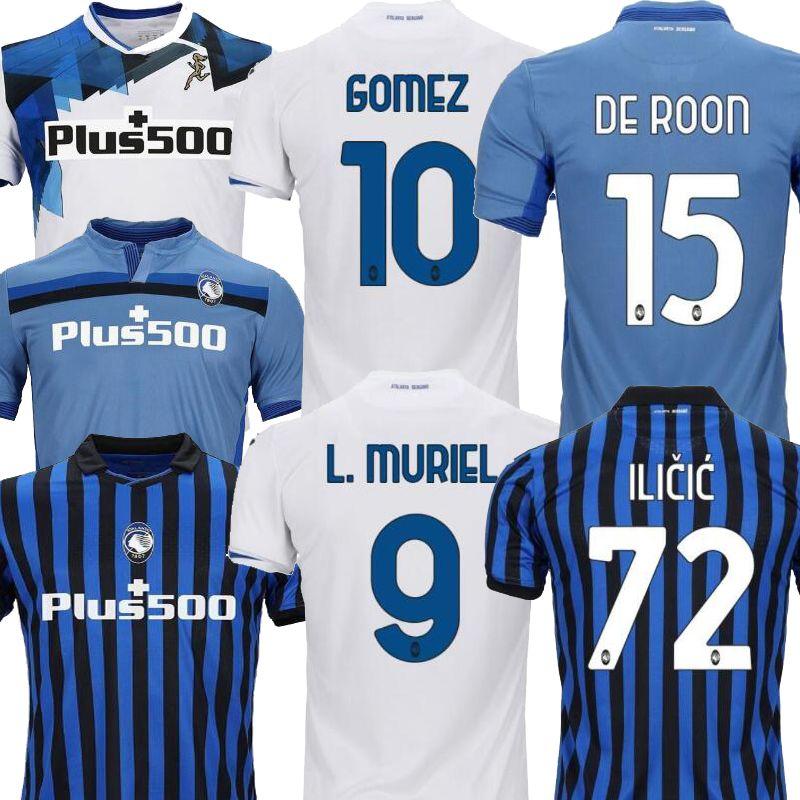 20 21 Atalanta 홈 블루 화이트 고소 망 축구 유니폼 Gomez 2020 2021 L.Muriel Ilicic de Roon Duvan Atalanta 축구 셔츠 Uniform 2021