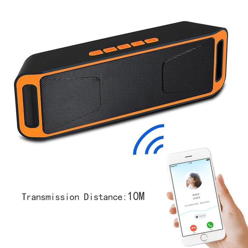 Telefonlar için SC208 Taşınabilir Mini Kablosuz Subwoofer Bluetooth Hoparlör Eller Serbest TF / USB Disk / FM Radyo Fonksiyonlu Hoparlör