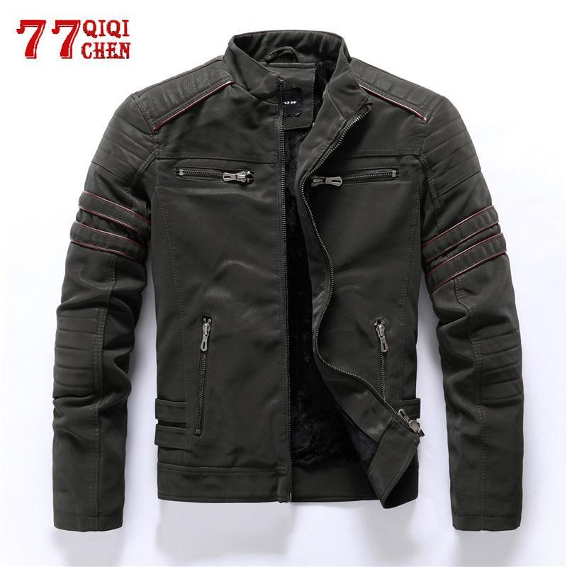 Frosted Autunno Inverno Fleece modo casuale collare del basamento Moto Jacket da uomo cappotti in pelle da uomo Slim elaborazione di alta qualità
