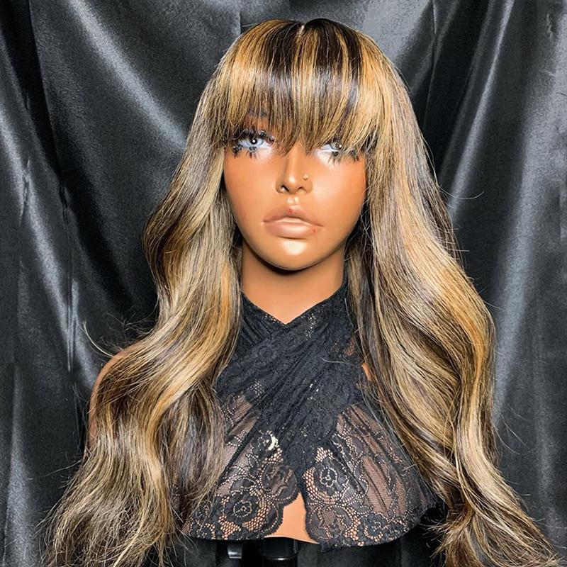 Ombre Resalte Fringe peluca superior de seda 5x5 peluca suelta la onda del cuerpo de la peluca 150% humano pelucas de pelo para las mujeres con Bangs BrazilianRemy