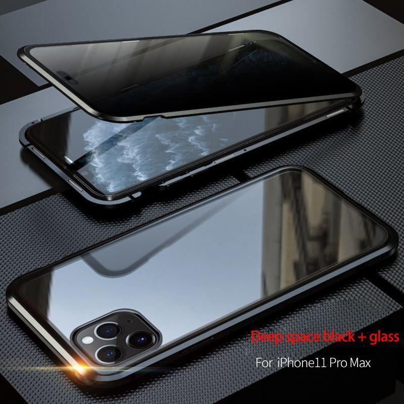 Ganzkörper-Magnet-Kasten für Iphone 11Pro X Xr Xs Max gehärteten Glas-Metallstoßschutz Datenschutz Abdeckung qylheB qqcp