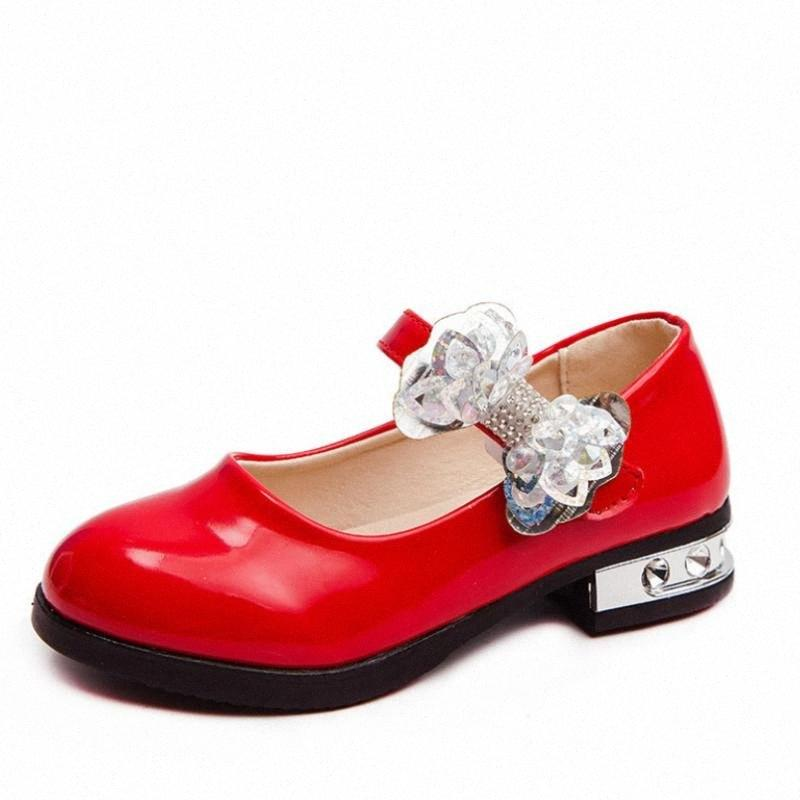 Kids Sandals Girls Bowknot Rhinestone Leather Shoes School Dress Sneakers Spring Wedding Party Dress Shoes For Girls Sandals L2t4#
