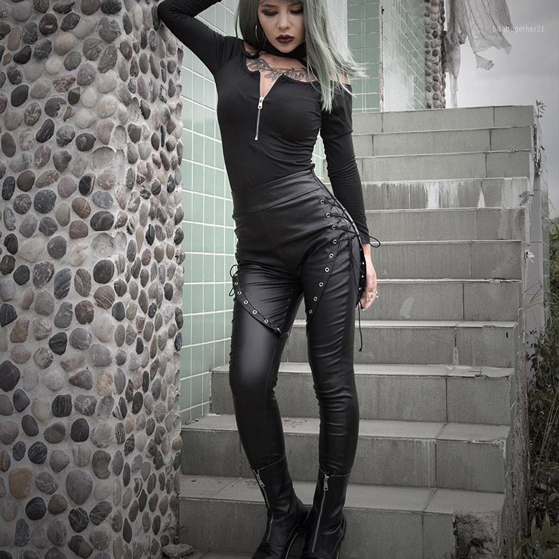 Женские брюки Cakris Готические черные женщины Slim PU кожаные ушковые кружевы эластичный карандаш гот панк-стрит одежды весна высокая талия BodyCon длинный