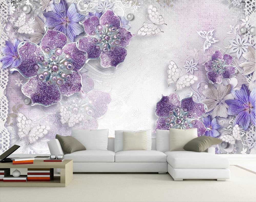 Fond d'écran 3D Salon Chambre fond TV Papier peint à fleurs de style européen à grande échelle grande fresque murale sur mesure pour la décoration de la maison
