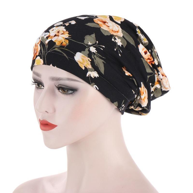 Nouveau musulman Imprimer Fleur Headwrap Caps sommeil satin intérieur nuit Turban chapeau Chapellerie de femme cheveux couverture gros bonnets