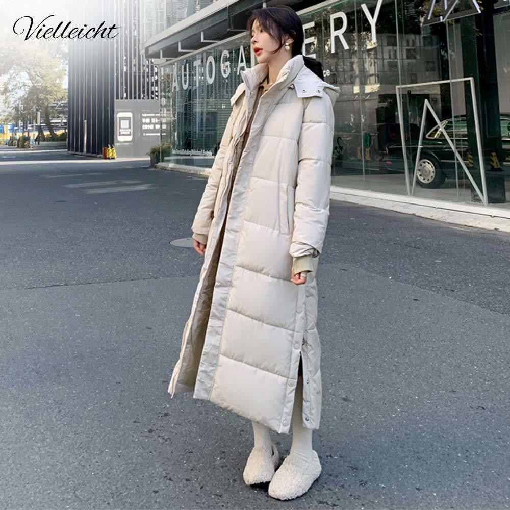 Vielleicht Новая зимняя куртка женщин X-длинный с капюшоном хлопок проложенный Женский Зимнее пальто Женская одежда высокого качества Теплый Parkas 201015