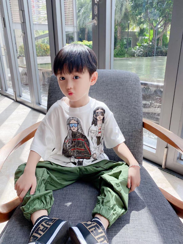 جديد أطفال بنين بنات تي شيرت 2021 الصيف الأطفال الأولاد القطن الكرتون تيز طفل قميص الملابس قمم