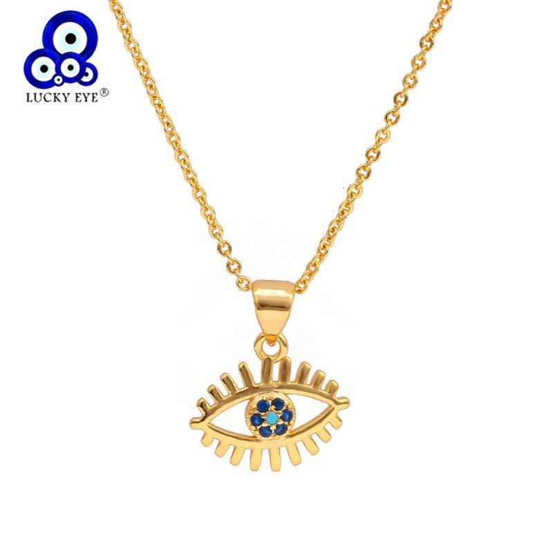 Afortunado ojo azul zircon turco malvado ojo collar de color oro cadena micro pavimenta colgante collar joyería para mujeres mujer ey6552