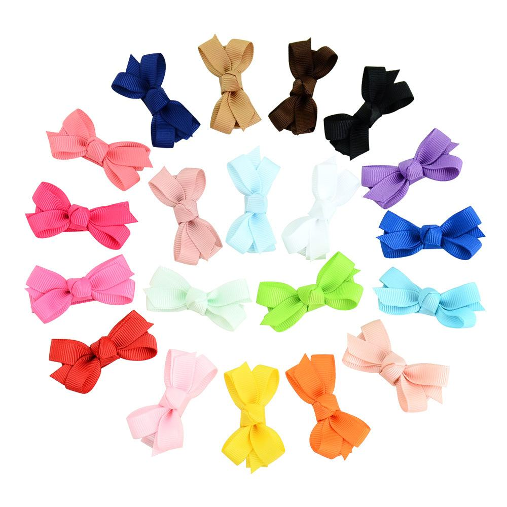 Baby Infant Bow Hairpins Small Grosgrain Ribbon Bows Hairgrips Girls Solid Whole Wrapped Safety Hair Clips Kids Hair Accessories KFJ27