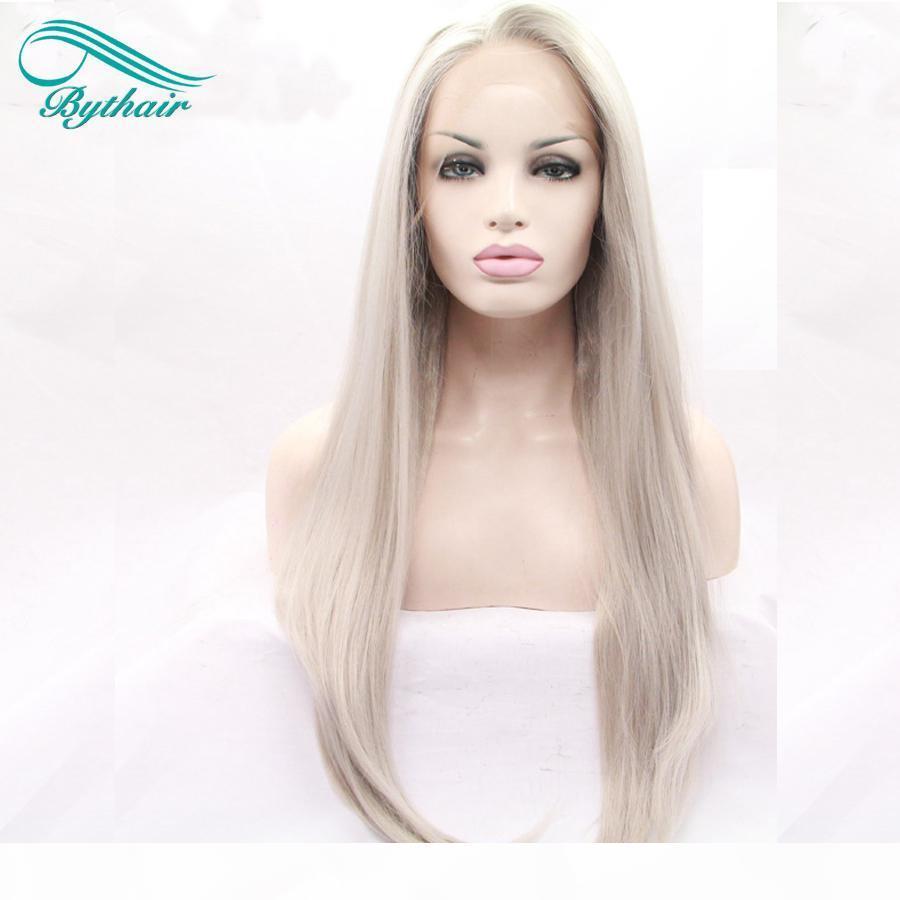 Bythair Isıya Dayanıklı Sentetik Şerit Kül Sarışın Gri Dantel Ön Peruk Yumuşak Uzun Gümüş Platin Sarışın Orta Ayrılık Peruk Kadınlar