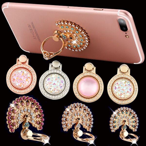 360도 회전 다이아몬드 블링 폰 스탠드 금속 홀더 아이폰 7 8 x 삼성 손가락 반지 홀더 스탠드