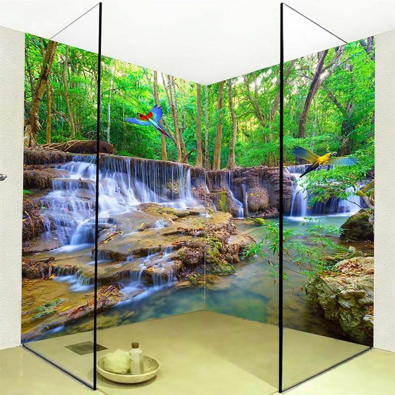 PVC auto-adhésif étanche mural papier peint papier peint 3D cascade perroquet salle de bain arrière-plan sticker mural décor Papel de parede 3 d 201009
