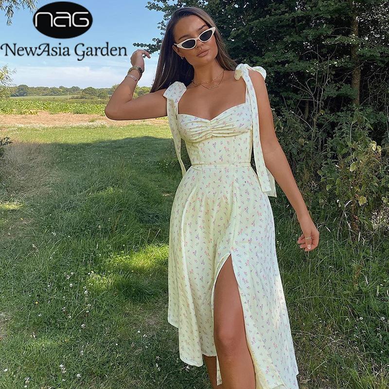 NewAsia Jaune Imprimer Robe Femmes d'été sans manches Tie Up Bow élégant bracelet Midi Robes Casual Sexy fendus robe florale