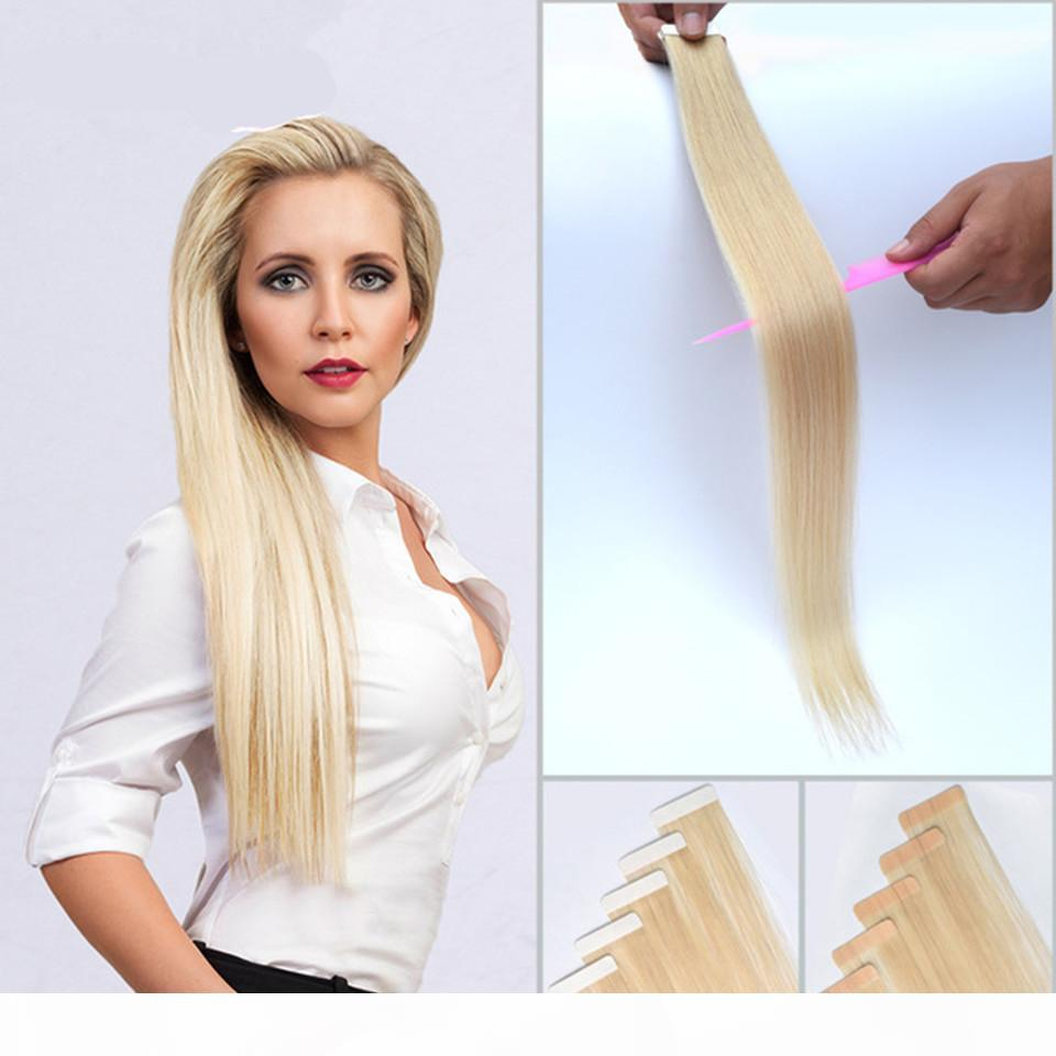 Yeni Geldi 40 adet 100g Perulu Bant İnsan Saç Uzantıları Düz Cilt Atkı 7A İnsan Saç Uzantıları Remy Bant