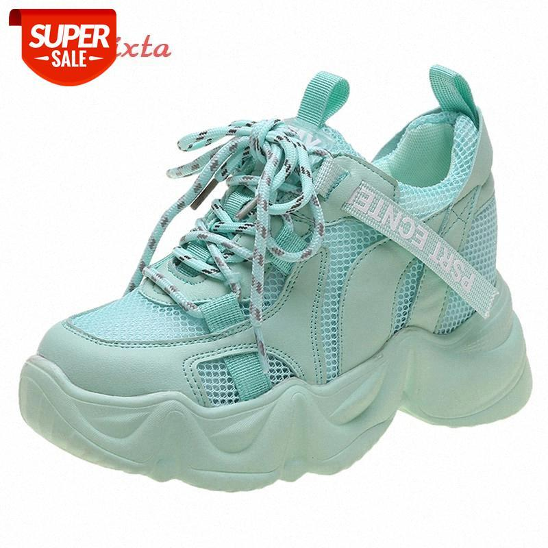 APHIXTA 6CM THELS WELLES Sneakers de plate-forme Wedge Femmes Casual Casual Casual Fond Chaussures Chaussures Femme Non Slip Bleu Sports Sneakers Mujer # Ke1s