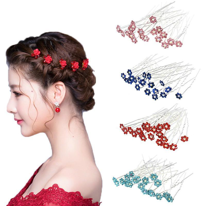 40pcs / Lot Femmes strass U Forme Barrettes Accessoires Pour nuptiale de mariage cristal Pins cheveux clip bijoux de demoiselle d'honneur