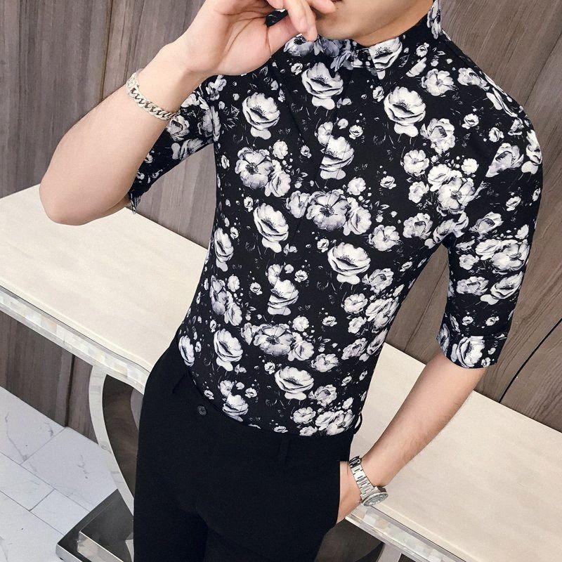 Coreano Nero stampa floreale in bianco camicia sottile La misura del vestito shirts Uomo mezza manica Tuxedo Camicie Casual maschile Estate Clothes q76E #