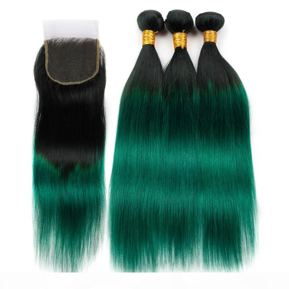 # 1B ombre vert cheveux hétéro 3bundles avec fermeture ombre vert foncé de cheveux humains brésiliens wefts wefts avec la fermeture de dentelle 4x4