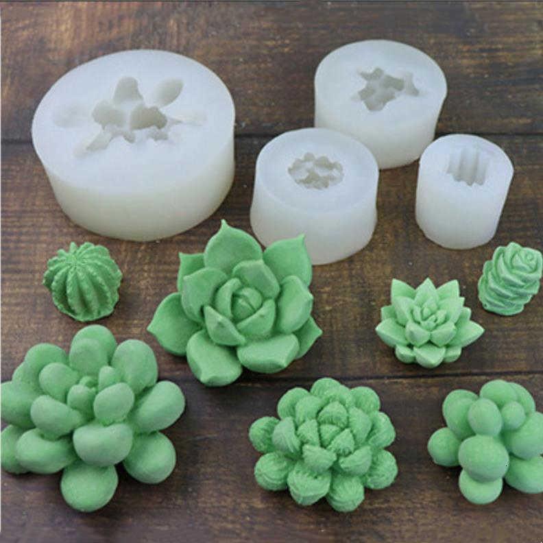3D Flor Succulents Molde de silicona Fondant de chocolate Helado Vela Hacienda Fabricación de pasteles Molde para hornear Molde de Cocina Linda