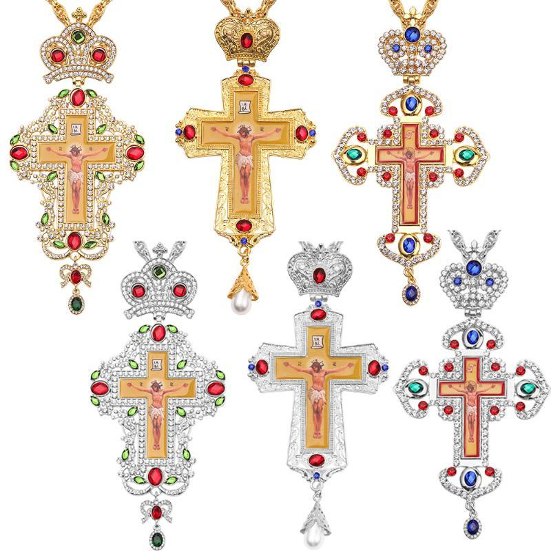 Chapado de oro / plata Colgantes la Iglesia ortodoxa de alta calidad de la manera de la cadena de Hiphop collares franco oro para la joyería de los hombres