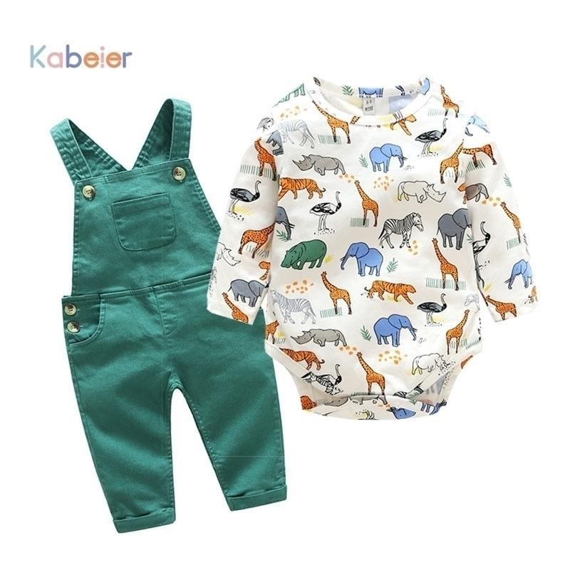 Neugeborenes Baby Mädchen Kleidung Strampler Langarm Frühling Cartoon Baby Bodysuit + Lätzchen Hose Outfit Kinder Set Nette Infant Strampler 201127