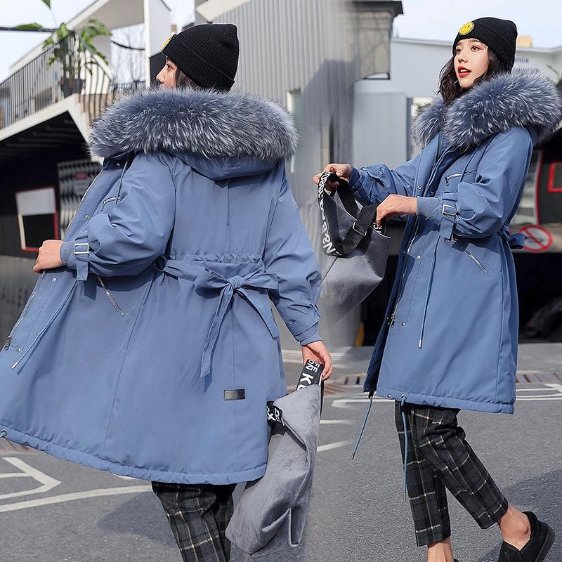 2020 Novo médio coreano e longo jaqueta de algodão de algodão grande tamanho de cabelo de cordeiro com capuz para superar a tendência do casaco de inverno feminino