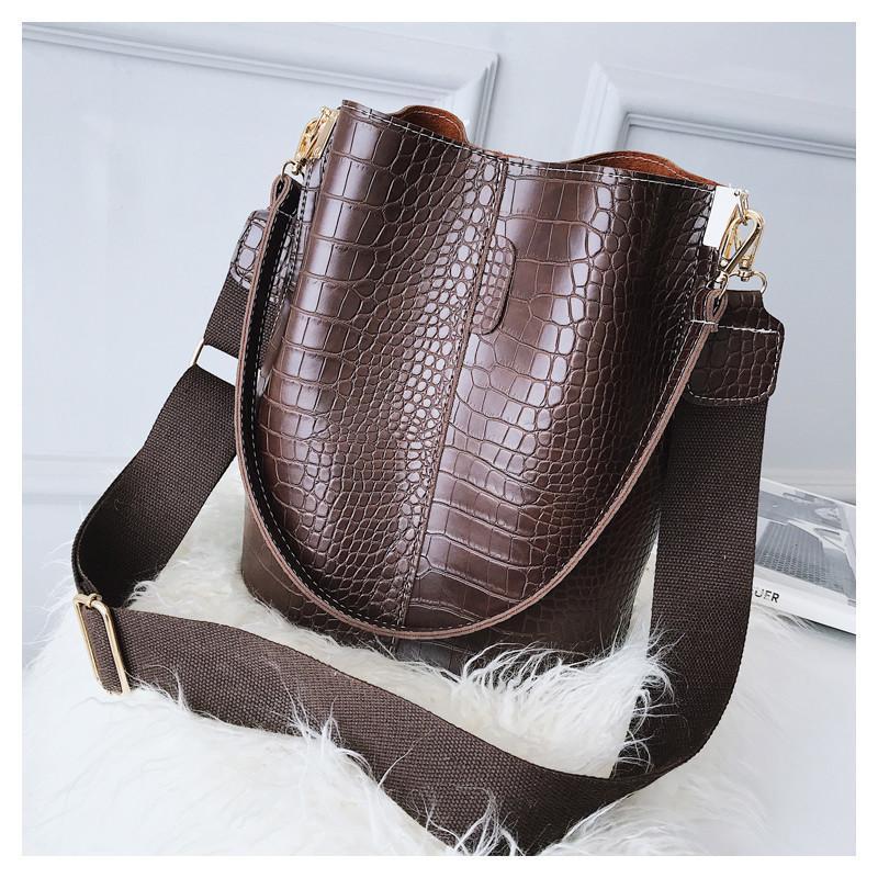 lady_bags 2019 Sac Crocodile bandoulière pour les femmes Sac à bandoulière Marque Designer femmes Sacs de luxe PU Sacs en cuir seau sac à main HPS405