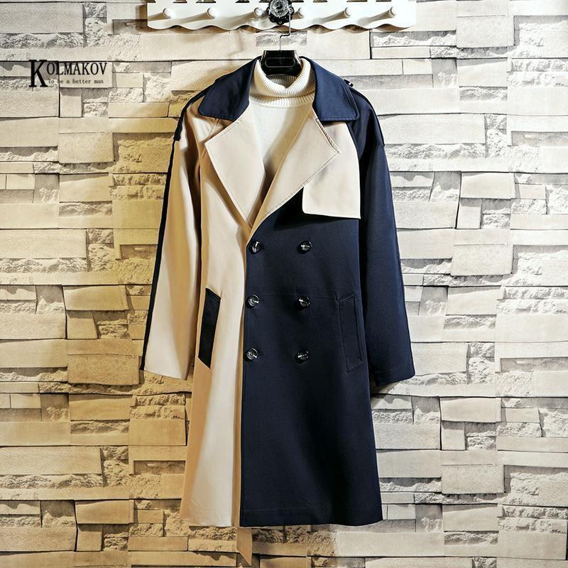 Capas de zanjas para hombres Kolmakov otoño / invierno estilo británico patchwork hombres abrigo largo suelto negro azul marino azul doble pecho sobre elección masculina