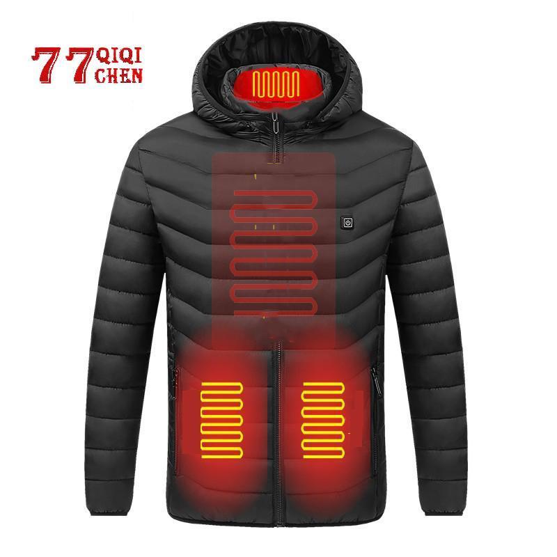Herren Down Parkas Winter beheizte Jacken Männer Thermische Heizung Kleidung Außenmantel USB Elektrische Batterie Lange Ärmel 2021 Kapuzen