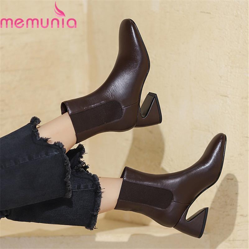 MEMUNIA 2020 Echte Lederstiefel arbeiten hohe Absätze Karree Damen Schuhe Herbst Winter Normallack Knöchel Stiefel für Frau