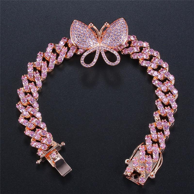 Pulseras pulseras encantador de las mujeres cubanas chapados en oro de Bling CZ mariposa joyas de moda CZ heló hacia fuera la pulsera de cadena para las muchachas de las mujeres
