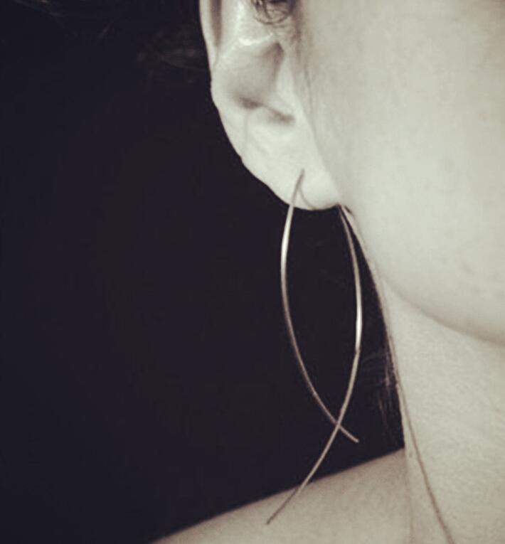 Pair New Fashion Gold- Big Hoop Earring Vintage Punk Cross Long Hoop Earring for Women Hot Sale Jewelry ps1046